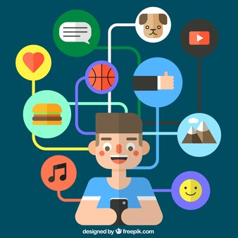 Icons of social media concept