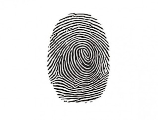 Identity fingerprint ink mark