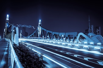 Illuminated bridge at night
