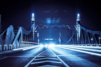 Illuminated bridge with cars