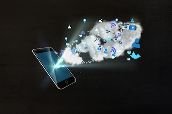 Illuminated mobile with icons in blue tones
