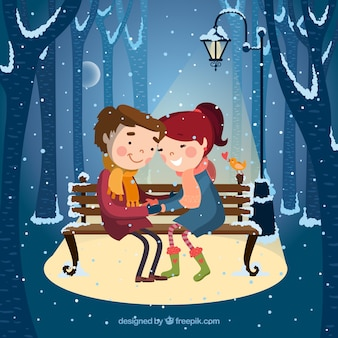 Illustrated couple under the snow
