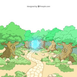 Illustrated forest with a blue light