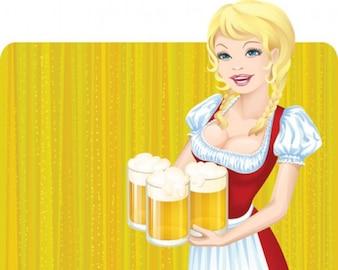 illustration beautiful waitress