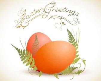 Illustration eggs on ferns