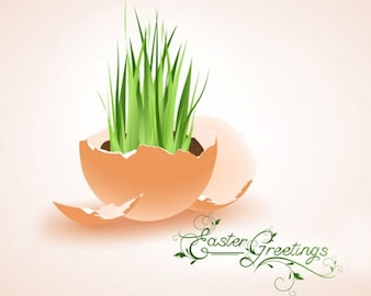 イラスト草が卵の殻から成長