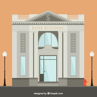 Illustration of the bank building made in flat style