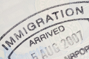 Immigration passport stamp