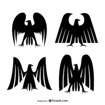 Imperial eagles silhouettes