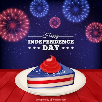 Independence day card with a cake