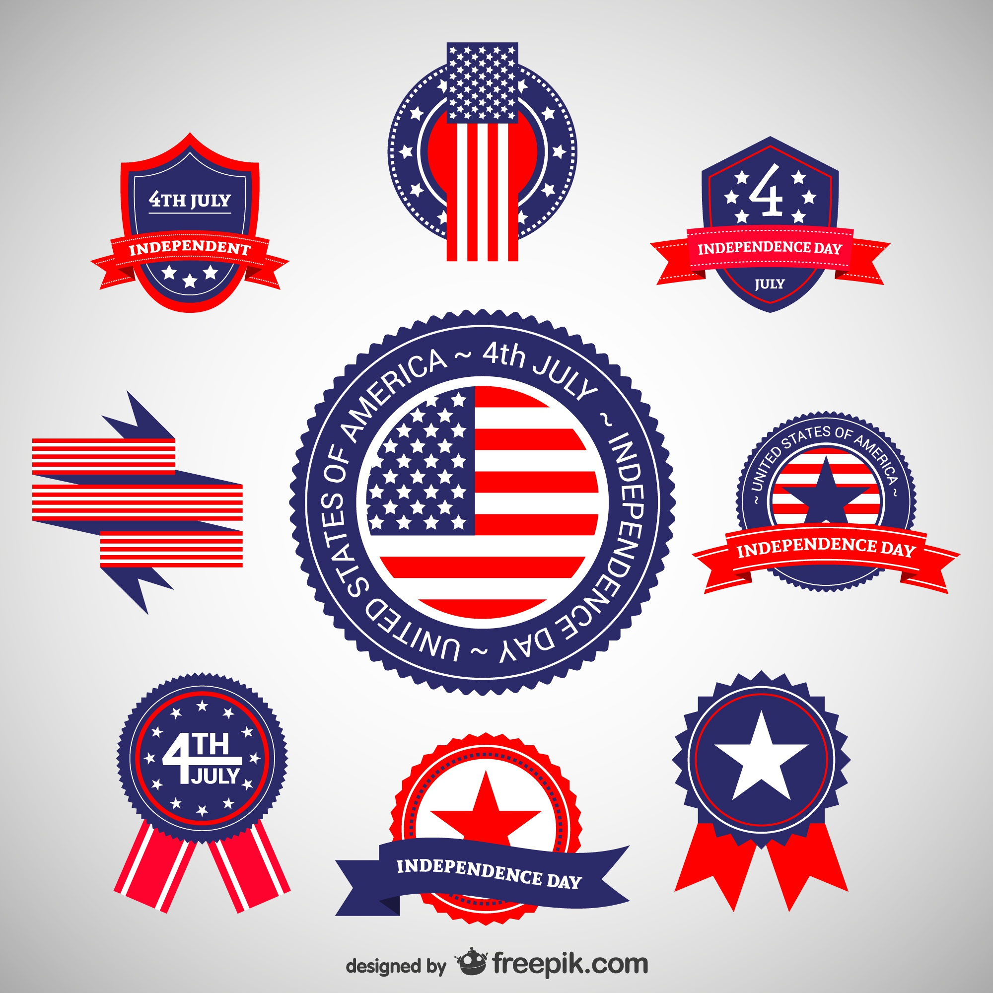 Independence day stickers set