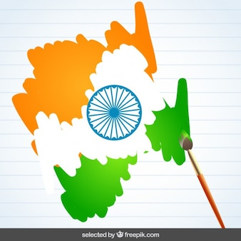 India flag painted with paintbrush