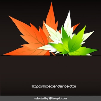 India independence day card with leaves