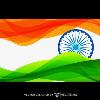 Indian flag in wave style