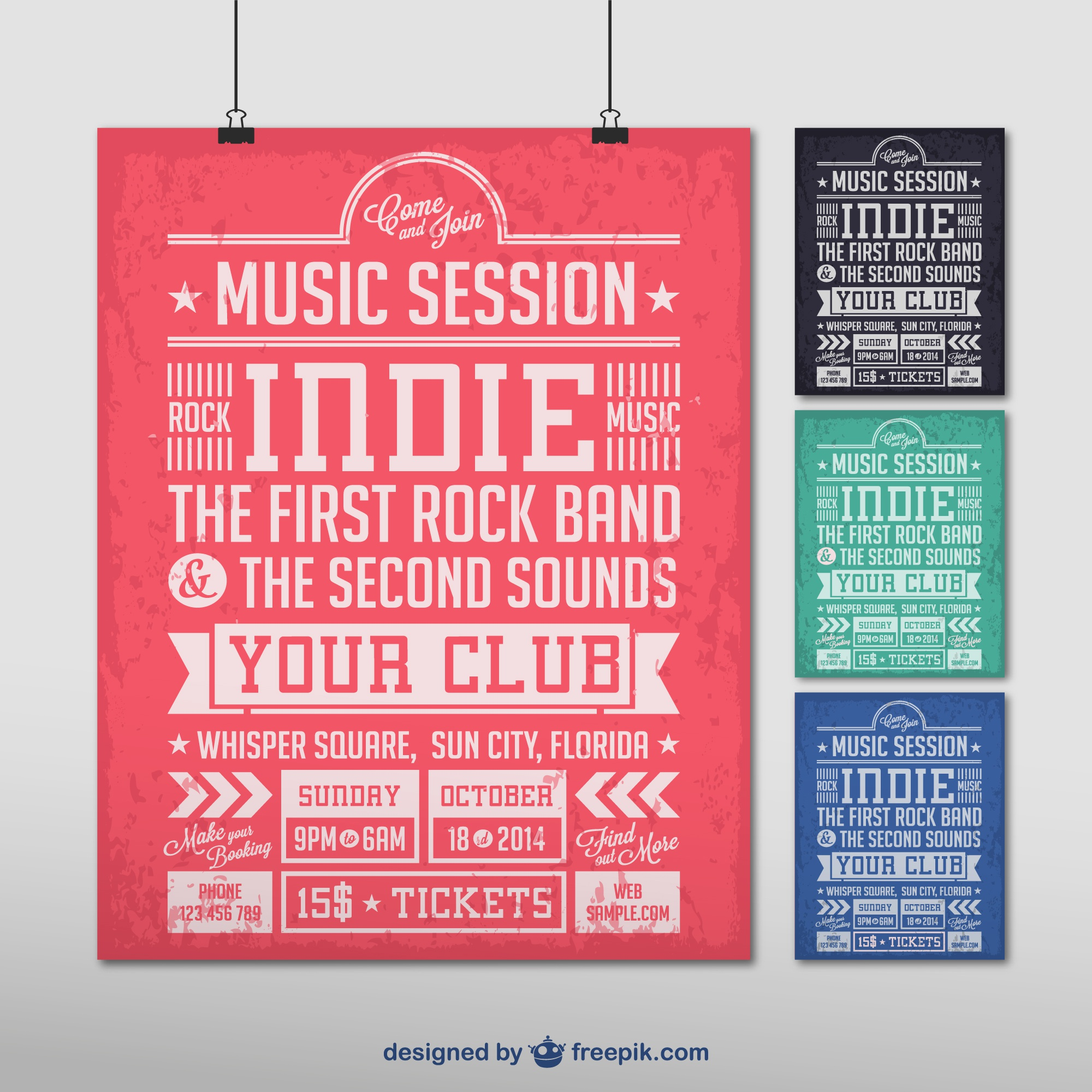 Indie music vector poster
