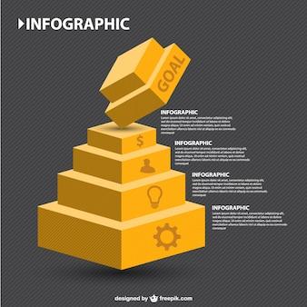 インフォグラフィックの3D幾何学的階層
