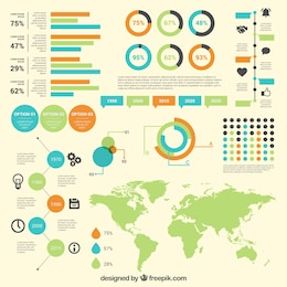 infographic diagrams with world map
