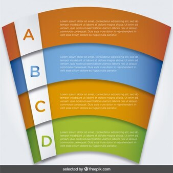 Infographic options template colorful in curved form