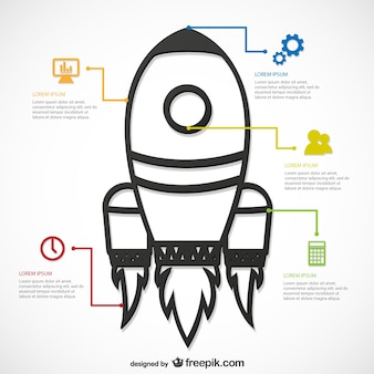 Infographic template with rocket