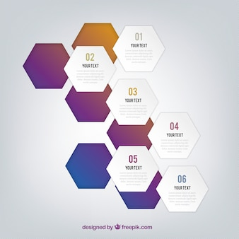 Infographic with cut out hexagons