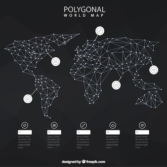 Infographic with polygonal world map
