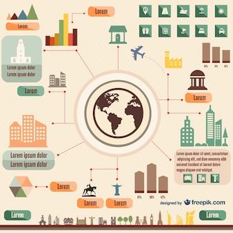 Infographics vector elements retro style