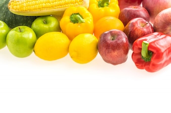 Ingredient green white fruits composition