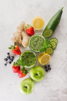 Ingredients for a fresh delicious green smoothie