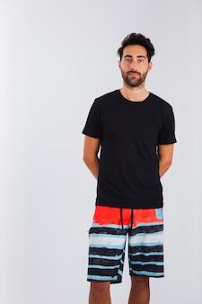 Innocent man in beachwear