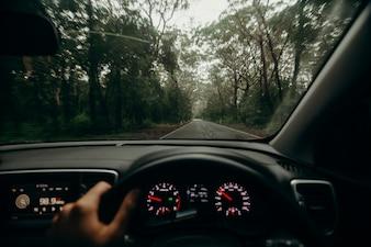 Inside view of car steering wheel while driving across Australian road.