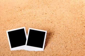 Instant photos on a beach