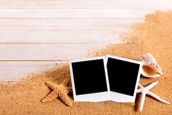 Instant photos on a beach