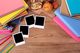 Instant photos on student desk