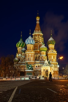 Intercession Cathedral in winter night. Moscow