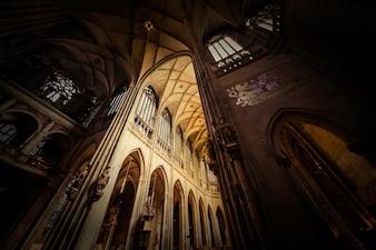 Interior of Saint Vitus Cathedral. Prague, Czech Republic