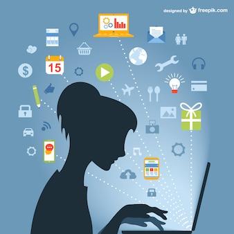Internet user's silhouette