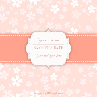 Invitation label on floral pattern