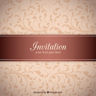 Invitation label on ornamental pattern