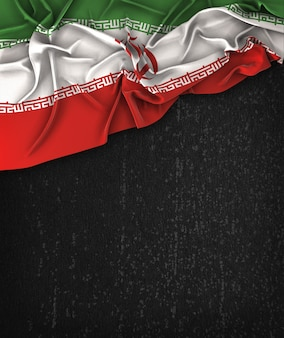 Iran Flag Vintage on a Grunge Black Chalkboard With Space For Text