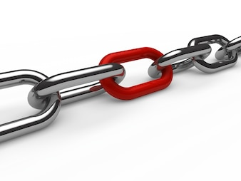 Iron chain with a red link