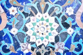 Islamic mosque blue ornamental tiles