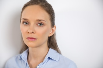 Isolated Closeup of Serious Attractive Young Woman