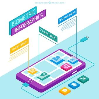 Isometric smartphone infographic