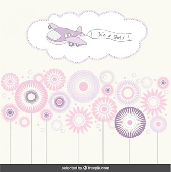 It's a girl baby shower card with a plane and flowers