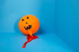 Jack-o-lantern in artificial blood