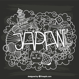 Japan lettering with sketchy elements