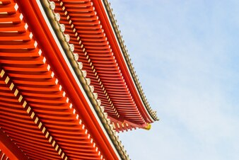 Japanese architecture with sky background