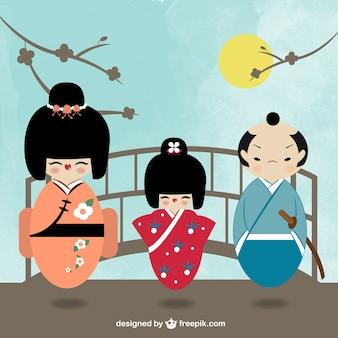 Japanese kokeshi characters