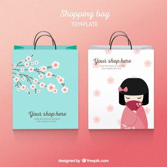 Japanese shopping bag template