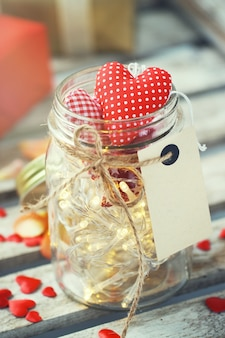 Jar with lights and hearts
